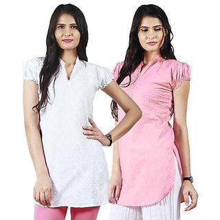 Haniya Chikankari Tunic Top Cotton Kurti Combo (Pearl White & Rose Pink)