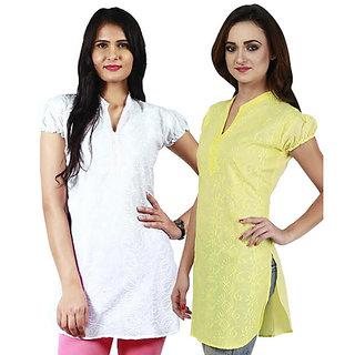 Haniya Chikankari Tunic Top Cotton Kurti Combo (Pearl White & Lemon Yellow)