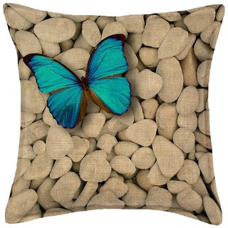 Kartik Craft Stylish Printed Jute Cushion Covers Set Of 5 Pillow Cover - Multicoloured (16X16 inches)
