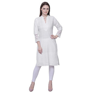 Haniya White Chikankari Embroidered Kurta