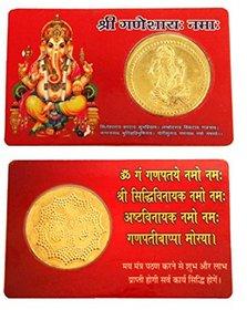 Shopping store om shree Ganesh Golden Plated Goddess  Yantra  Coin ATM Card - For Temple Home,Locker, Purse,for Pocket