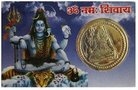 MAHAVIRA OM SHIVA  pocket yantra back side Sri Mahamrityunjaya yantra coin made in brass and laminated in card form for better life