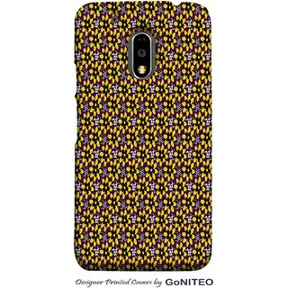 Printed Mobile Phone Back Cover Case for Moto E3 Power by GoNITEO || Yellow  || Black || Flowers ||