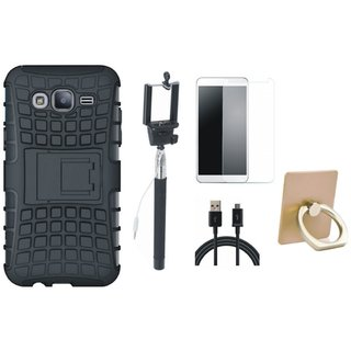 K8 Note Defender Back Cover with Kick Stand with Ring Stand Holder, Free Selfie Stick, Tempered Glass and USB Cable