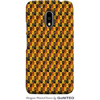 Printed Mobile Phone Back Cover Case for Moto E3 Power by GoNITEO || Yellow || Brown || Black ||