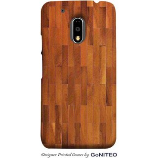 Printed Mobile Phone Back Cover Case for Moto E3 Power by GoNITEO || Wood || Texture || Brown ||