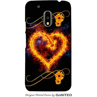 Printed Mobile Phone Back Cover Case for Moto E3 Power by GoNITEO || Burning Heart || Love  || Black ||