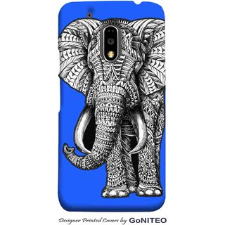 Printed Mobile Phone Back Cover Case for Moto E3 Power by GoNITEO || Elephant || Aztec || Blue ||