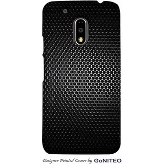 Printed Mobile Phone Back Cover Case for Moto E3 Power by GoNITEO || Steel || Black || Texture ||