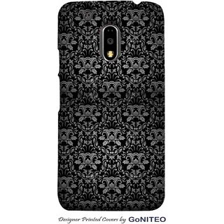 Printed Mobile Phone Back Cover Case for Moto E3 Power by GoNITEO || Flower || Black || Texture ||
