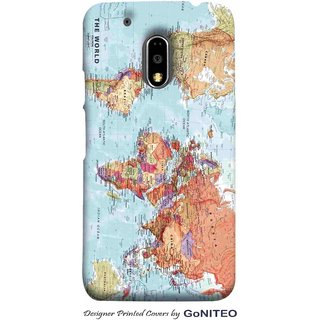 Printed Mobile Phone Back Cover Case for Moto E3 Power by GoNITEO || World || Map || Blue ||
