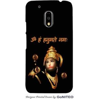 Printed Mobile Phone Back Cover Case for Moto E3 Power by GoNITEO || Hanuman || Om || Black ||