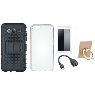 K8 Plus Shockproof Tough Armour Defender Case with Ring Stand Holder, Silicon Back Cover, Tempered Glass and OTG Cable
