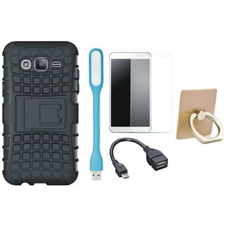 K8 Plus Shockproof Tough Armour Defender Case with Ring Stand Holder, Tempered Glass, USB LED Light and OTG Cable