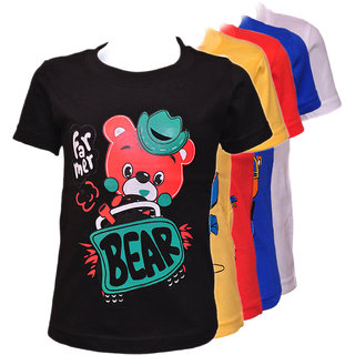 Kids Multicolor Round Neck Printed Cotton T-Shirts Set of 5 by Pari  Prince