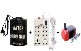 PNP 3 in 1 Electricity Saver Combo of (Water Alarm, 8+1 Extension Cord and Water Submersible Cooler Pump)