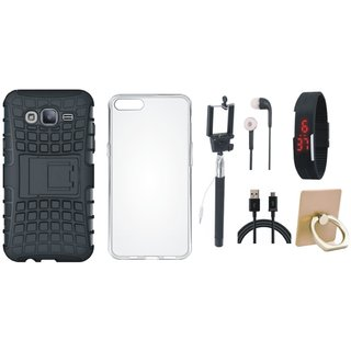 Samsung J7 Max Dual Protection Defender Back Case with Ring Stand Holder, Silicon Back Cover, Selfie Stick, Digtal Watch, Earphones and USB Cable