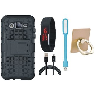 Samsung C7 Pro Defender Tough Armour Shockproof Cover with Ring Stand Holder, Digital Watch, USB LED Light and USB Cable
