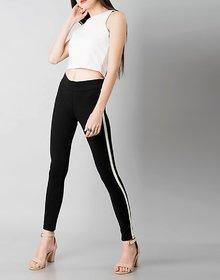 Black Single White Stripe / Side Panel  Legging / Jegging / Gym Wear / Yoga Wear /Sport's Wear