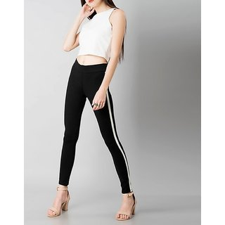 Code Yellow Women's White Single Side Stripe Stretchable Black Regular Fit Jeggings Yoga Gym Wear