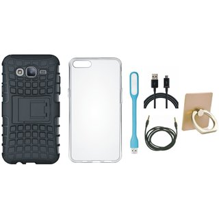 Moto E4 Defender Tough Armour Shockproof Cover with Ring Stand Holder, Silicon Back Cover, USB LED Light, USB Cable and AUX Cable