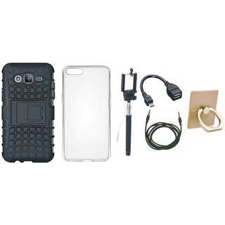 Moto E4 Defender Tough Armour Shockproof Cover with Ring Stand Holder, Silicon Back Cover, Selfie Stick, OTG Cable and AUX Cable