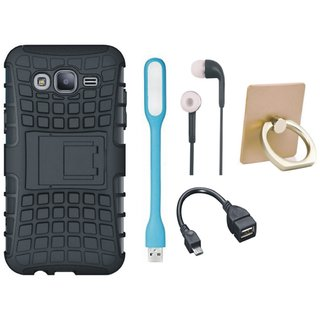 Moto E4 Shockproof Tough Armour Defender Case with Ring Stand Holder, Earphones, USB LED Light and OTG Cable