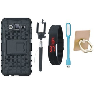 Samsung C7 Pro Shockproof Tough Defender Cover with Ring Stand Holder, Selfie Stick, Digtal Watch and USB LED Light