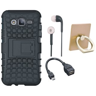 Moto E4 Shockproof Tough Armour Defender Case with Ring Stand Holder, Earphones and OTG Cable