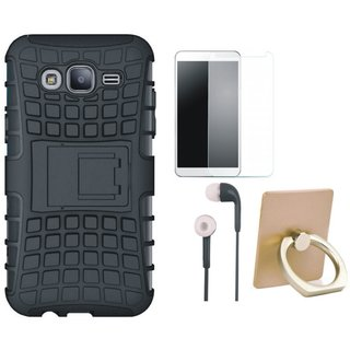 Samsung C7 Pro Shockproof Tough Defender Cover with Ring Stand Holder, Earphones and Tempered Glass