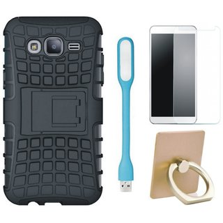 Samsung C7 Pro Shockproof Tough Defender Cover with Ring Stand Holder, Tempered Glas and USB LED Light