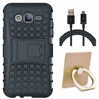Moto E4 Shockproof Tough Armour Defender Case with Ring Stand Holder, USB Cable