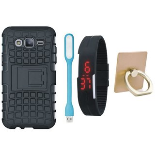 Samsung C7 Pro Shockproof Tough Defender Cover with Ring Stand Holder, Digital Watch and USB LED Light
