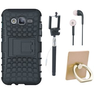 Moto E4 Shockproof Tough Armour Defender Case with Ring Stand Holder, Selfie Stick and Earphones