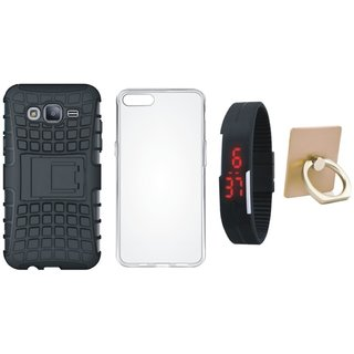 Samsung C7 Pro Shockproof Tough Defender Cover with Ring Stand Holder, Silicon Back Cover, Digital Watch