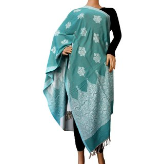 Matelco Sky  printed acrylic wool reversible  stole, 28 x80