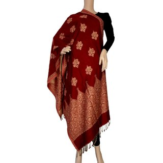 Matelco Maroon printed acrylic wool reversible  stole, 28 x80