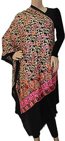 Matelco Pashmina Black Embroidered Women Shawl
