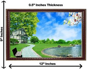 3d vastu sky with water wall painting( size 09*12)