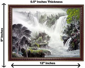3d vastu water falling tree wall painting( size 09*12)