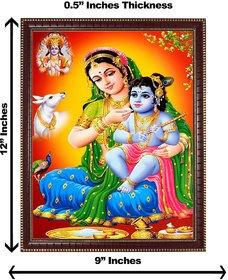 3d colourful krishna yashoda maa with vishnuji wall painting( size 09*12)