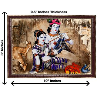 3d krishna radha with dear wall painting( size 08*10)