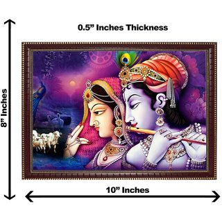 3d krishna radha with cow wall painting( size 08*10)