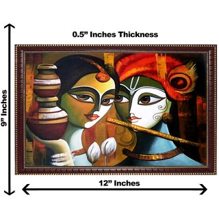 3d krishnaji radhaji with matki wall painting( size 09*12)
