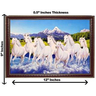 3d vastu 7 white horse wall painting( size 09*12)