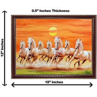 3d vastu 7 brown horse wall painting( size 12*18)