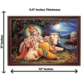 3d krishna with cow wall painting( size 09*12)