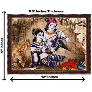 3d krishna radha with dear wall painting( size 09*12)