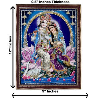 3d colourful krishna radha silver wall painting( size 09*12)