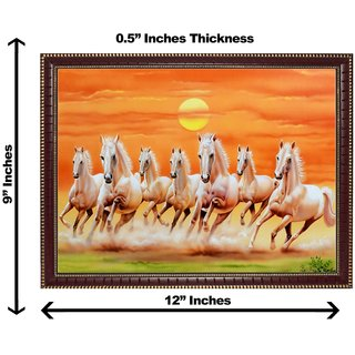 3d vastu 7 brown horse wall painting( size 09*12)